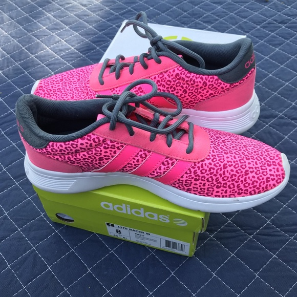 adidas Neo Lite Racer Womens Sneakers Fashion Retro Pink Leopard Fitness Shoes
